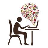 Social massmediatemaillustration royaltyfri illustrationer