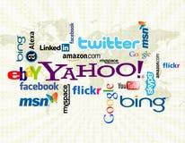 Social massmediawordcloud Arkivfoto