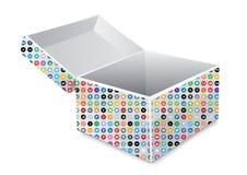 Social Media öffnet Kasten-Paket Stockbild