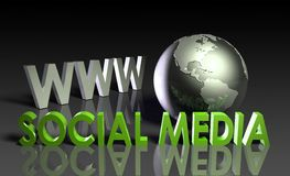 Social Media. Of Online Content on the Web Stock Photos