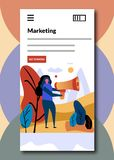Social Media marketing for mobile apps. stock illustration
