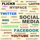 Social media. Popular social media networks names Royalty Free Stock Image