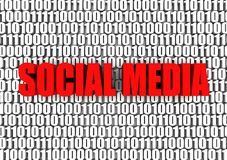 Social Media. And binary code 3d text. Part of a series Royalty Free Stock Photography