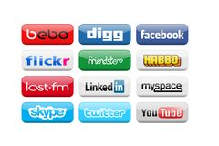 Social media. Most popular social media button Stock Images