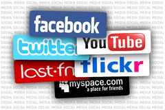 Social media. Most popular social media background Stock Image