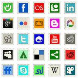 Social media. Postage stamps, 25 most popular social media icon Stock Photo