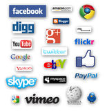 Social media. Tags with popular social media networks names Stock Images