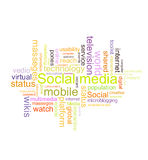 Social media. Word cloud concept illustration, isolated on white background Stock Photography