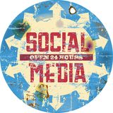 Social media. Vintage social media sign or button, grungy illustration Royalty Free Stock Photography