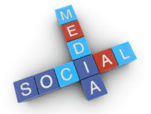 Social Media. Crossword. Clipping path included for easy selection Stock Images