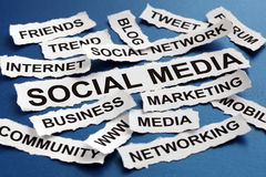 Social media. Concept torn newspaper headlines reading marketing, networking, community, internet etc