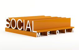 Social media. Text in 3D Royalty Free Stock Photos