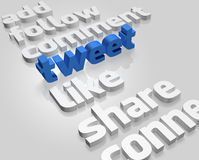 Social Media in 3D. Social Media and related words on white background Stock Images