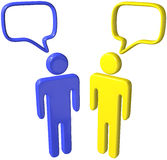 Social media 3D people talk speech bubbles. Two social media 3D people talk in speech bubbles Royalty Free Stock Photo