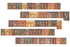 Social media 5C concept. Conversation, community, commenting, collaboration, contribution - social media 5C concept - a collage of isolated words in vintage wood Stock Image