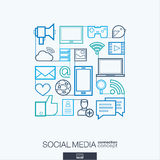 Social media abstract background, integrated thin line symbols. Royalty Free Stock Photos