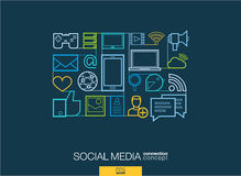 Social media abstract background, integrated thin line symbols. Royalty Free Stock Photography