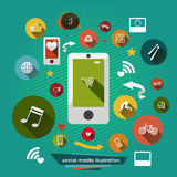 Social media abstract illustration with modern icons Stock Image