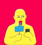 Social media addicted. Abstract yellow man looking at smartphone and licking an ice cream in the shape of Thumb Up hand. Social media addiction concept Royalty Free Stock Image