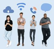 Social media addicted people using their phones Stock Photography