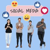Diverse people with social media icons royalty free stock photos
