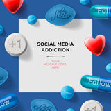 Social media addiction concept with pills Royalty Free Stock Photos