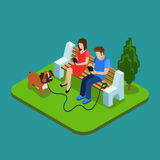 Social media addiction. Young couple in park with smartphones. 3d isometric people concept Royalty Free Stock Images