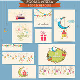 Social media ads, header or banner for Eid celebration. Stock Photos