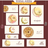 Social media ads or headers for Eid Mubarak celebration. Creative floral design decorated social media ads, headers, banners or post for muslim community Royalty Free Stock Images