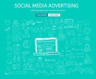Social Media Advertising concept with Doodle design style: Royalty Free Stock Photos
