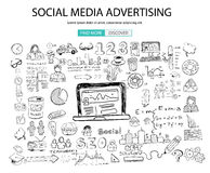 Social Media Advertising concept with Doodle design style: online solution Royalty Free Stock Images