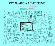 Social Media Advertising concept with Doodle design style: online solution Royalty Free Stock Image