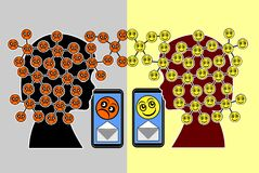 Social Media affect the Mood. Messages may cause either pleasant feelings or depressions in children Royalty Free Stock Photo