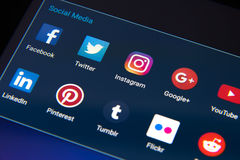 Social media app icons on Android smartphone Stock Images