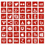 Social media app networking logo signs. Red color social media icons flat square shapes with vector file Stock Photo