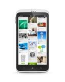 Social media application on mobile smartphone royalty free illustration