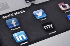 Social Media Applications on Ipad. Kiev, Ukraine - Jan 12, 2013: Apple Ipad screen with social media applications of Facebook, Twitter, Linkedin, Myspace Royalty Free Stock Photos