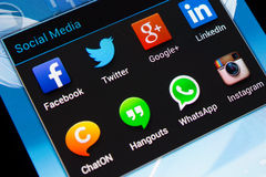 Social media applications on mobile phone. Samsung Galaxy Note 2 screen with social media applications of Facebook, Twitter, Google+, Linkedin, ChatON, Hangouts royalty free stock image
