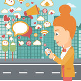 Social media applications. A woman using smartphone with lots of social media application icons flying out on a city background vector flat design illustration Royalty Free Stock Photography