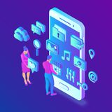 Social media apps on a smartphone. Social media 3d isometric icons. Mobile apps. Created For Mobile, Web, Decor, Application. stock illustration