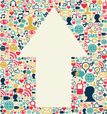 Social media arrow texture. Social media icons set texture with arrow shape composition background Stock Images