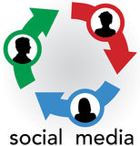 Social Media arrows connect people network. Arrow connections link people silhouettes in a social media network friendship circle Stock Images