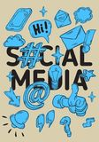 Social Media  Artistic Cartoon Hand Drawn Sketchy Line Art Style Drawings Illustrations Icons And Symbols Poster Royalty Free Stock Images