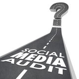 Social Media Audit Words Road Monitor Measure Campaign Effective. Social Media Audit words on a road to illustrate measuring or monitoring online or digital Stock Photo