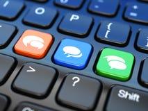 Social Media auf Laptoptastatur. Begriffsbild. stock abbildung
