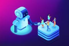 Social Media-Automatisierung bearbeitet isometrische Illustration des Konzeptvektors lizenzfreie abbildung