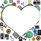 Social media. Background with a big heart in the middle Royalty Free Stock Photography