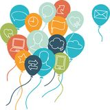 Social media background with flying balloons Royalty Free Stock Image
