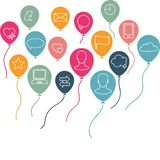 Social media background with flying balloons Stock Images