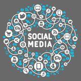Social media, background of the icons vector Stock Photos